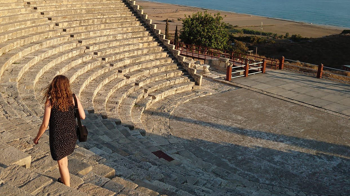 Walking on the theatre at Ancient Kourion