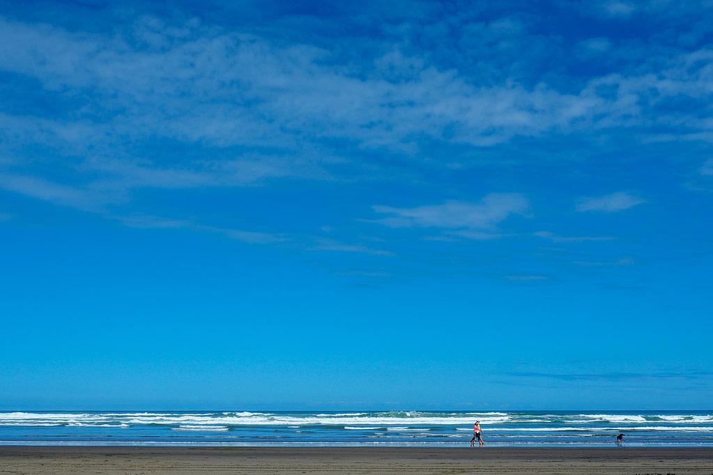 People walking their dog along the beach at Piha.