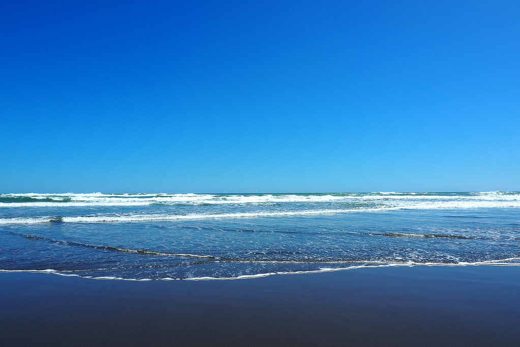The shore at Piha with a clear blue sky.